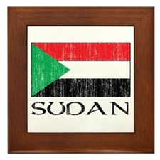 Sudan Flag Framed Tile