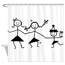 Dancing Stick Girls Shower Curtain
