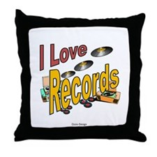 I Love Records Throw Pillow