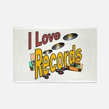 I Love Records Rectangle Magnet
