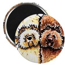 """Yellow Chocolate Labradoodle 2.25"""" Magnet (10 pack"""