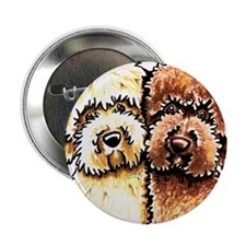 """Yellow Chocolate Labradoodle 2.25"""" Button"""
