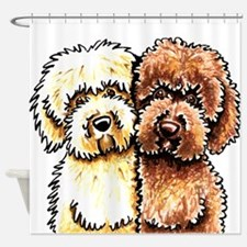 Yellow Chocolate Labradoodle Shower Curtain