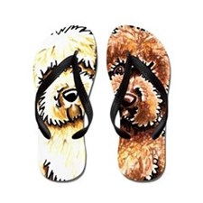 Cream Chocolate Labradoodle Flip Flops