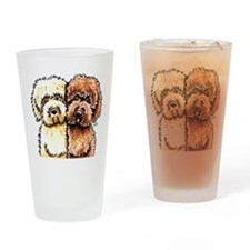 Cream Chocolate Labradoodle Drinking Glass
