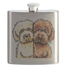 Cream Chocolate Labradoodle Flask