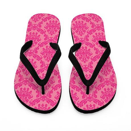 Pink Damask Flip Flops