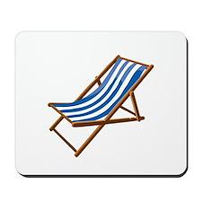 Beach chair blue white Mousepad