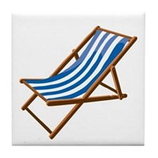 Beach chair blue white Tile Coaster