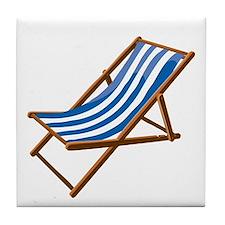 Beach chair blue white Tile Coaster
