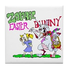 Zombie Easter Bunny Tile Coaster