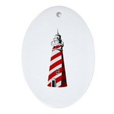 Red and white spiral lighthouse Ornament (Oval)