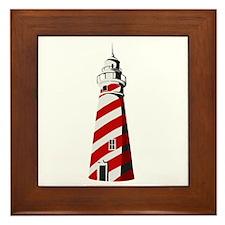 Red and white spiral lighthouse Framed Tile