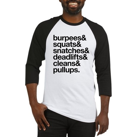 Crossfit Essentials Black Text Baseball Jersey