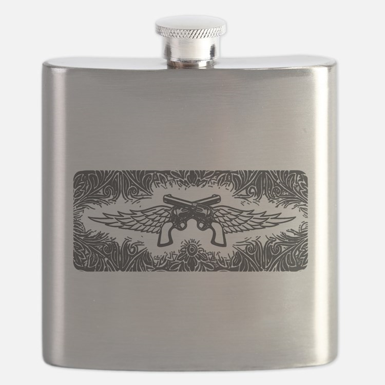 Pistols and Wings Flask