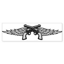 Pistols and Wings Bumper Car Sticker
