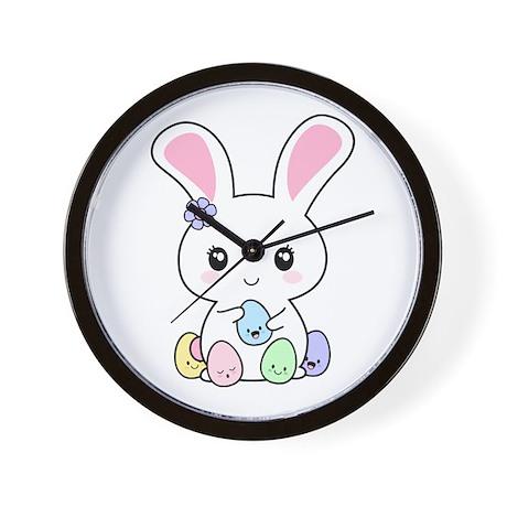 Kawaii Easter Bunny Wall Clock
