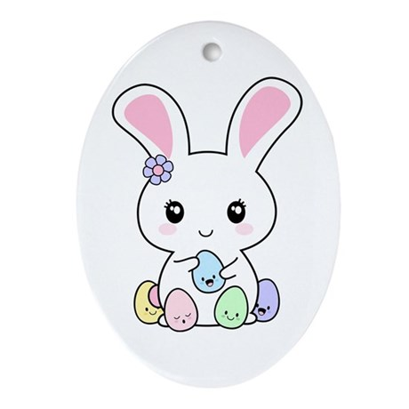Kawaii Easter Bunny Ornament (Oval)
