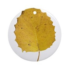 Golden Aspen Leaf Ornament (Round)