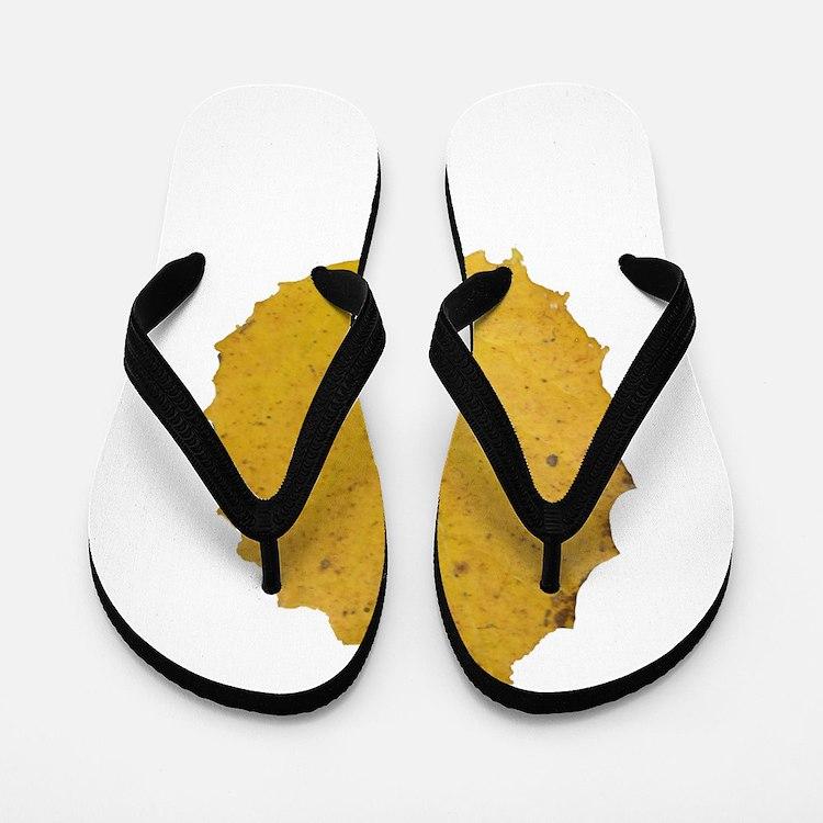 Golden Aspen Leaf Flip Flops