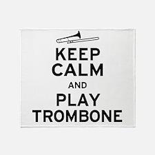 keep Calm Trombone Throw Blanket