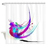 Abstract Bluebird Paint Splatter Shower Curtain
