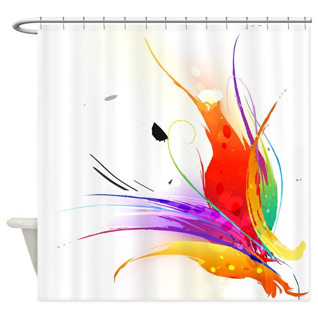 Abstract Bird Of Paradise Splatter Shower Curtain By Getyergoat