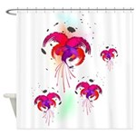 Abstract Fuchsias Paint Splatter Shower Curtain