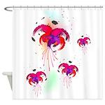 Abstract Fuchsias Paint Splatter Shower Curtain