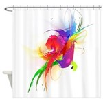 Abstract Lorikeet Paint Splatter Shower Curtain