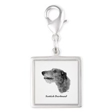 Scottish Deerhound Silver Square Charm