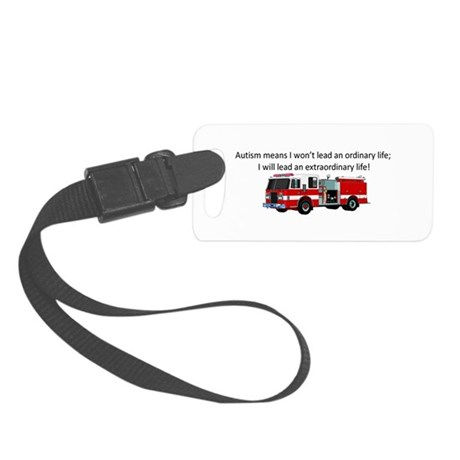Autism firetruck Luggage Tag