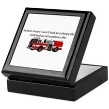 Autism firetruck Keepsake Box