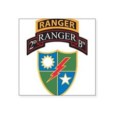 2nd Ranger Bn with Ranger Tab Rectangle Sticker