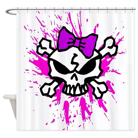 Girly Skull Shower Curtain By AngelWorks1