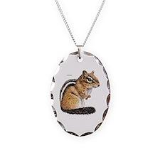 Chipmunk Animal Necklace Oval Charm