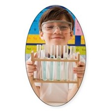 Greek boy holding rack of test tube Decal