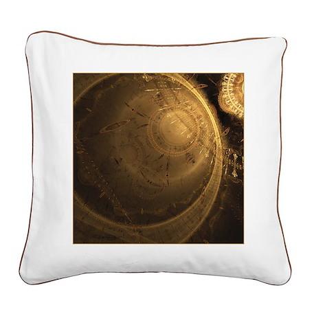 Golden Clock Square Canvas Pillow