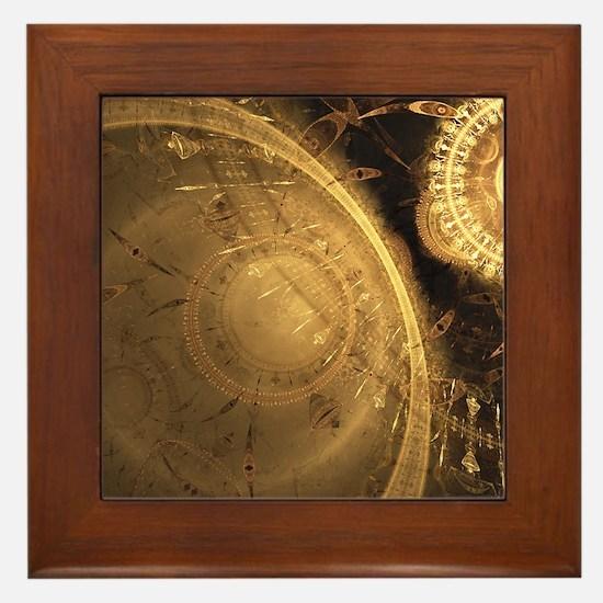 Golden Clock Framed Tile