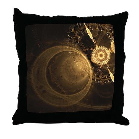 Golden Clock Throw Pillow