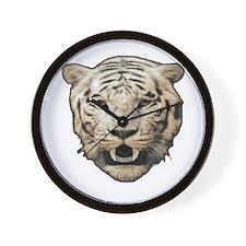 white tiger face art illustration Wall Clock
