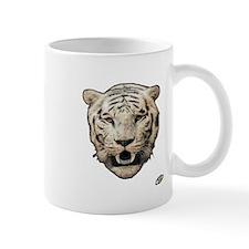white tiger face art illustration Mug