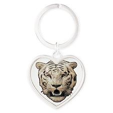 white tiger face art illustration Keychains