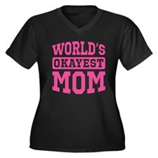 World's Okayest Mom [pink] Women's Plus Size V-Nec