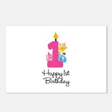 First Birthday candle and animals Postcards (Packa