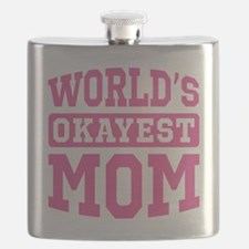 World's Okayest Mom [pink] Flask