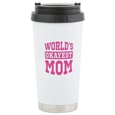 World's Okayest Mom [pink] Travel Mug