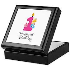 First Birthday candle and animals Keepsake Box