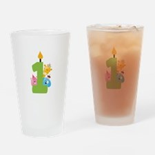 First Birthday candle and animals Drinking Glass