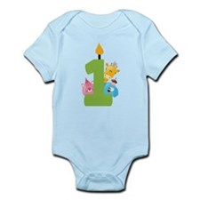 First Birthday candle and animals Infant Bodysuit